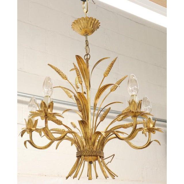 Gold Gold Gilt Metal Cattail Sheaf Light Fixture Chandelier For Sale - Image 8 of 9