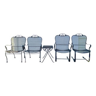 1960's Vintage Black Metal Patio Set-Set of 5 For Sale