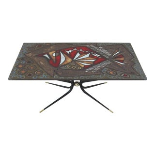 Italian Artisan Tile Table in the Style of Gio Ponti For Sale