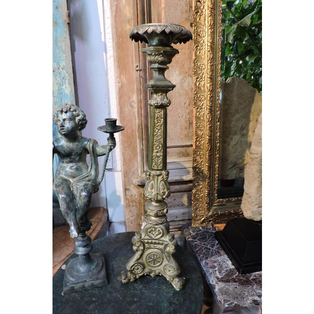French Gilded Church Candlestick With Christian Symbols For Sale In San Francisco - Image 6 of 6