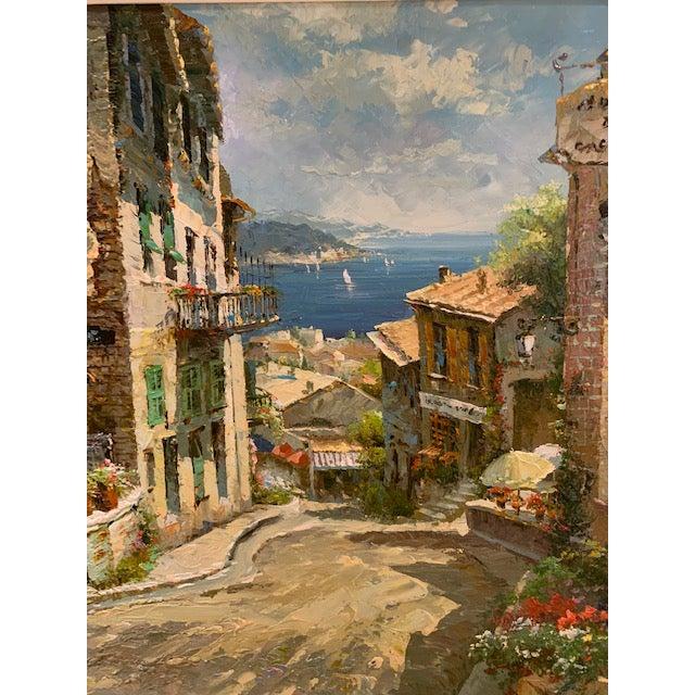 1990s 1990s Vintage Original Italian Street Scene Painting For Sale - Image 5 of 13