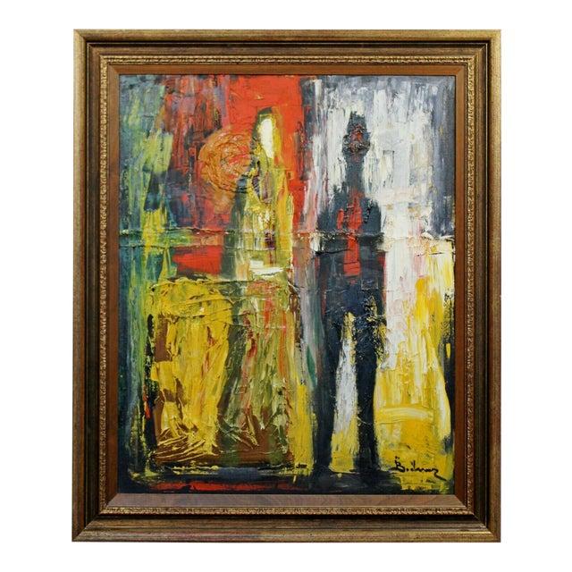 Mid Century Modern Framed Oil Pallet Knife Canvas Painting Signed Bochraz For Sale