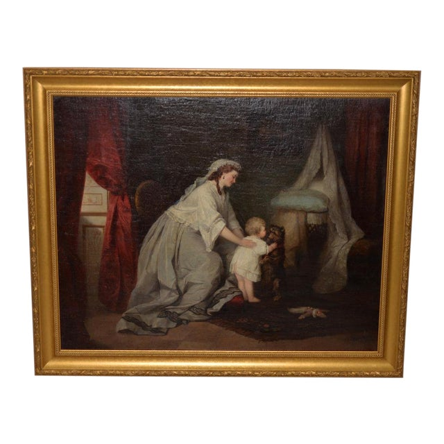 Robert Julius Beyschlag (Germany, 1838-1903) Mother & Child Oil Painting C.1870 For Sale