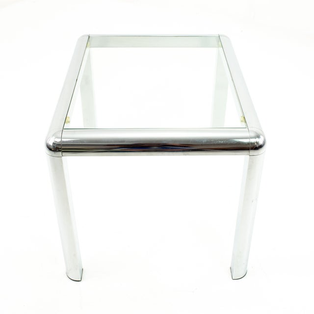 Milo Baughman Style Mid Century Chrome and Glass Side End Table Table measures: 28 wide x 22 deep x 20 high When you...