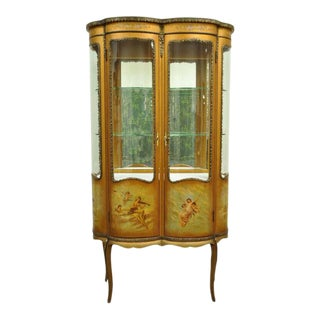 French Louis XV Vernis Martin Curved Glass Double Vitrine For Sale