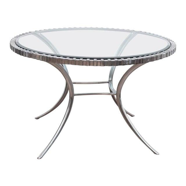 Thinline Polished Aluminum Klismos Table For Sale