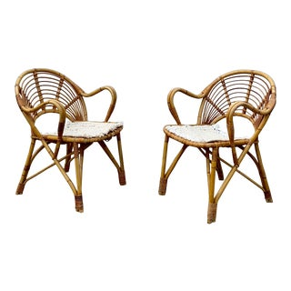 Danish Bamboo Armchairs- A Pair For Sale