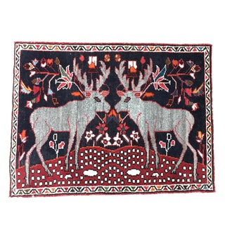 "Persian Two Reindeer Pictorial Rug - 2'10"" X 2'2"""