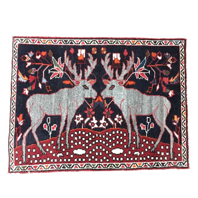 "Persian Two Reindeer Pictorial Rug - 2'10"" X 2'2"" For Sale"