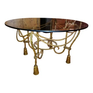 Vintage Italian Gold Rope and Tassel Side Table For Sale
