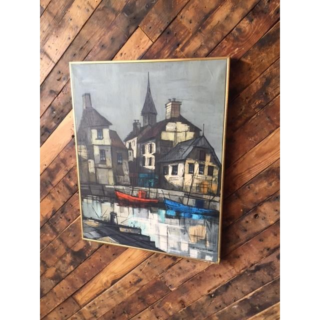 Mid Century Port Scape Oil Painting by M Edward Griff For Sale In Los Angeles - Image 6 of 6