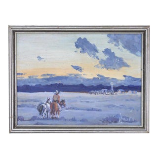 """Small Vintage """"Horse & Rider at Dusk"""" Oil Painting by Arthur Merrill For Sale"""