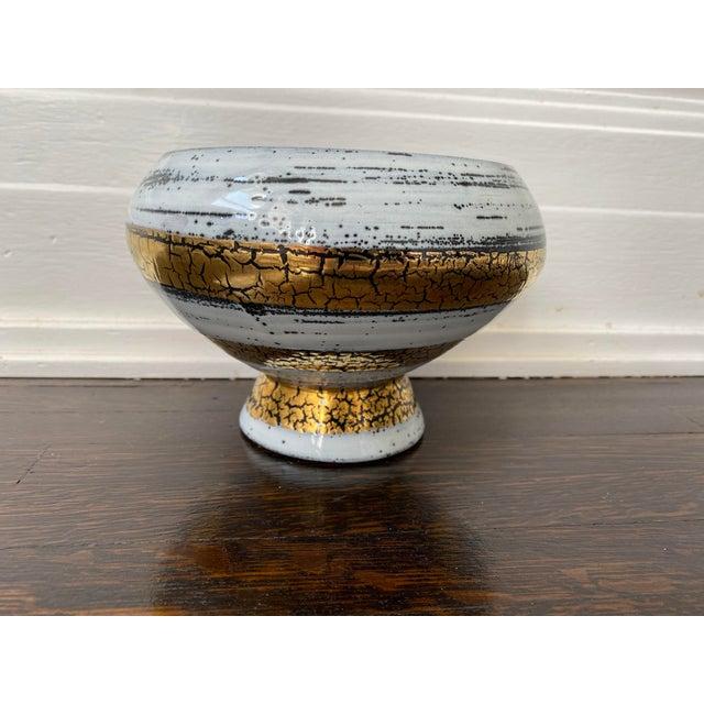 Ceramic Mid 20th Century Italian Ceramic White Gold and Black Bowl For Sale - Image 7 of 7