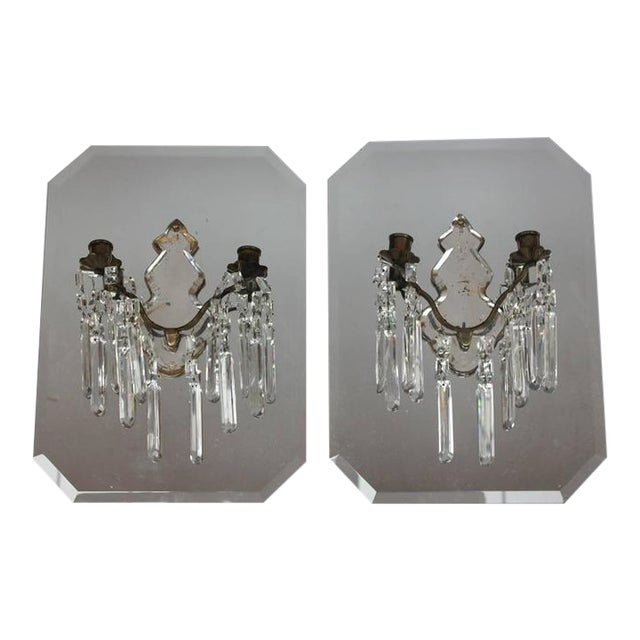 Antique French Mirrored Wall Sconces- A Pair For Sale