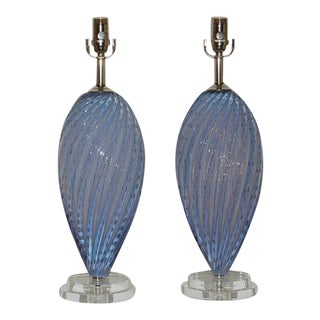 Vintage Murano Glass Lamps Lavender For Sale
