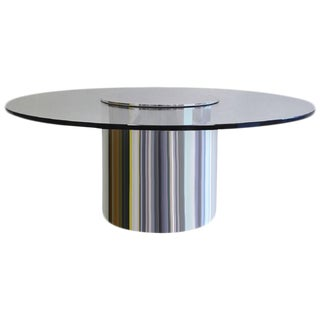 Rare Large Polished Aluminum Drum Table by Paul Mayen for Habitat
