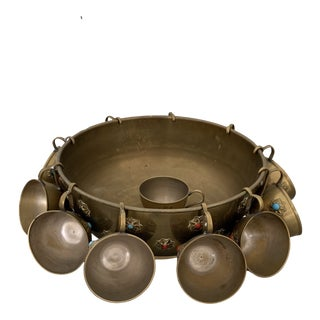 Jewel Encrusted Brass Punch Bowl With Cups - 13 Piece Set For Sale