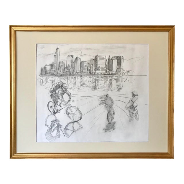 New York Manhattan Skyline Figures Drawing by Tom Christopher For Sale