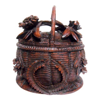 Pottery Basket With Hinged Lid