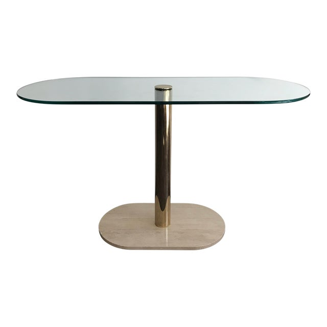 Pace Collection Marble, Brass & Glass Console Table For Sale