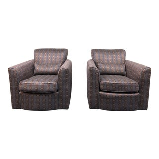 Pair of Donghia-Style Noble Swivel Club Chairs For Sale