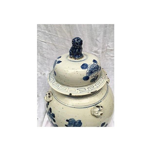 Blue & White Ginger Jar With Foo Dog Lid - Image 4 of 8