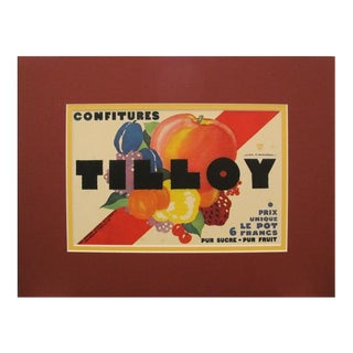 1920s Vintage Art Deco Mini Poster, Confitures Tilloy Jam For Sale