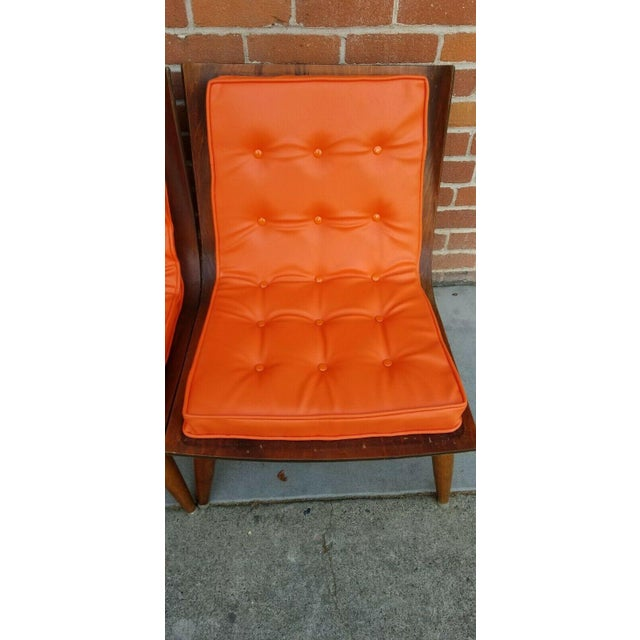 Orange Mid-Century Bentwood Upholstered Carter Brothers Scoop Chairs- A Pair For Sale - Image 8 of 9