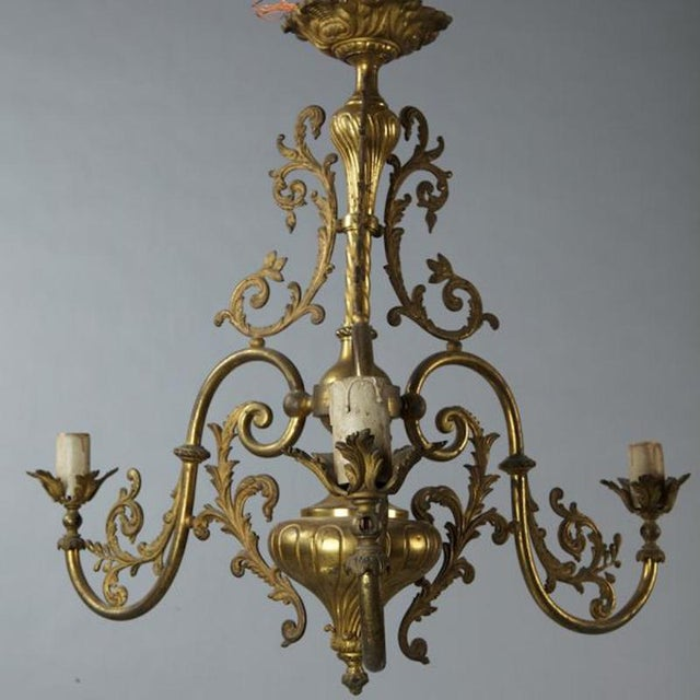 1920s French Three Light Solid Cast Brass Chandelier For Sale - Image 5 of 8