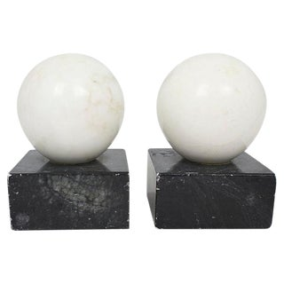Mid-Century Italian Alabaster Sphere Bookends