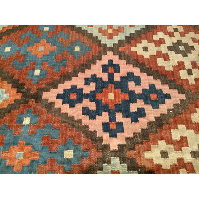 Brick Red Persian Flat Woven Kilim Runner - 2′10″ × 12′3″ For Sale - Image 8 of 13