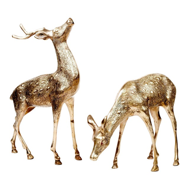 Vintage Brass Deer Figures - A Pair - Image 1 of 10