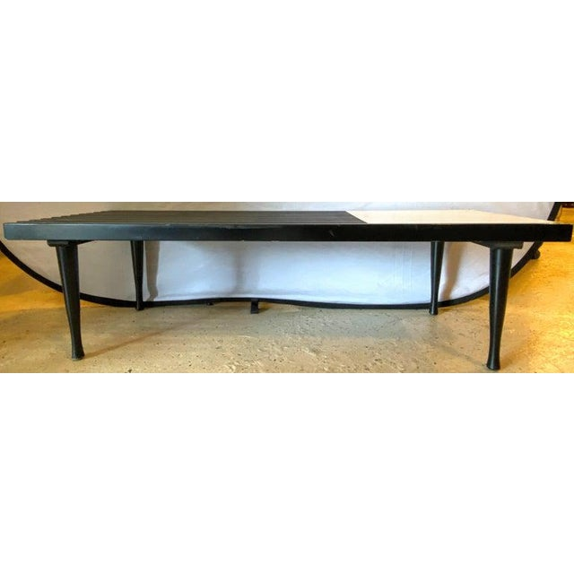 Mid-Century Modern Herman Miller George Nelson slat style brass and ebony coffee table or slat bench. Clean and sweet side...