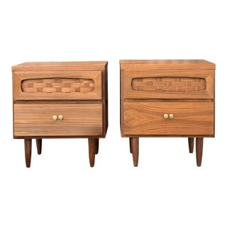 Mid Century Nightstands With Woven Detailing For Sale