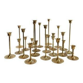 Mid-Century Brass Graduated Candlesticks - Set of 23