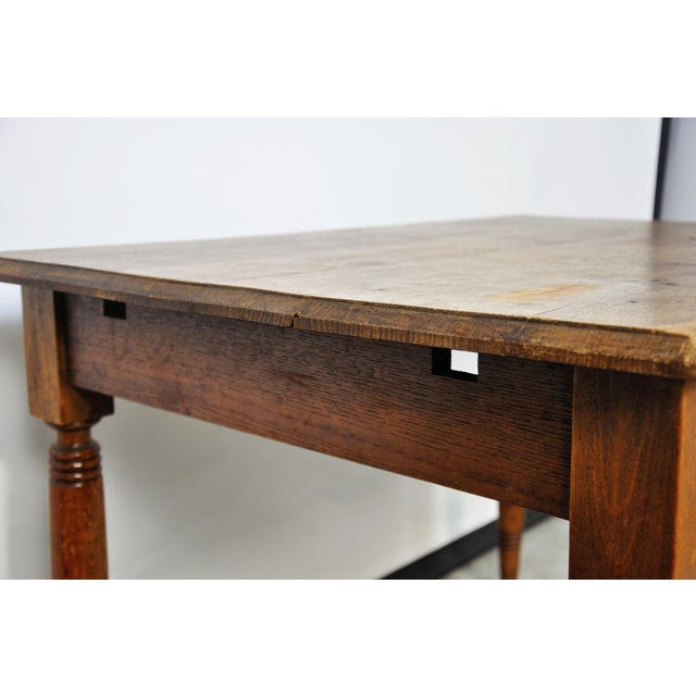 Wood Vintage French Oak Farmhouse Dining Table For Sale - Image 7 of 12
