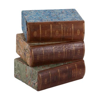 1900s English Traditional Book Boxes - Set of 3 For Sale