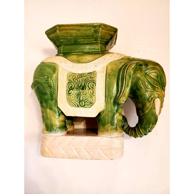 Vintage Green & White Elephant Garden Seat End Table For Sale - Image 13 of 13