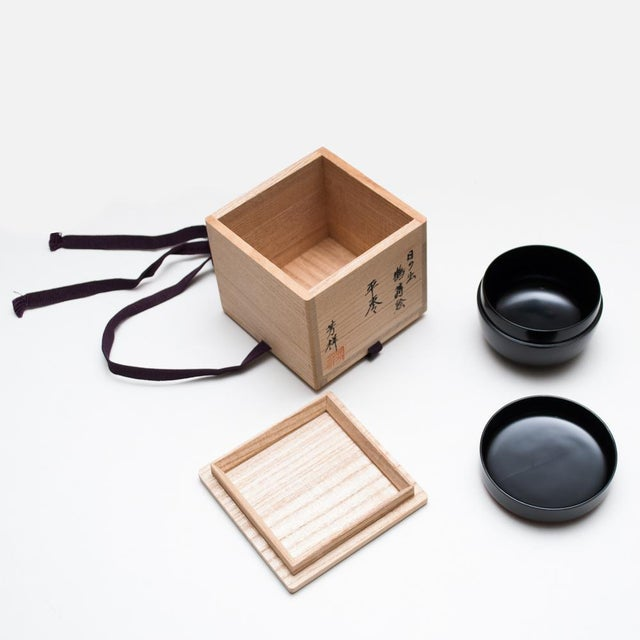 Japanese Lacquered Black Painted Wood Tea Caddy in a Wood Box For Sale - Image 9 of 13