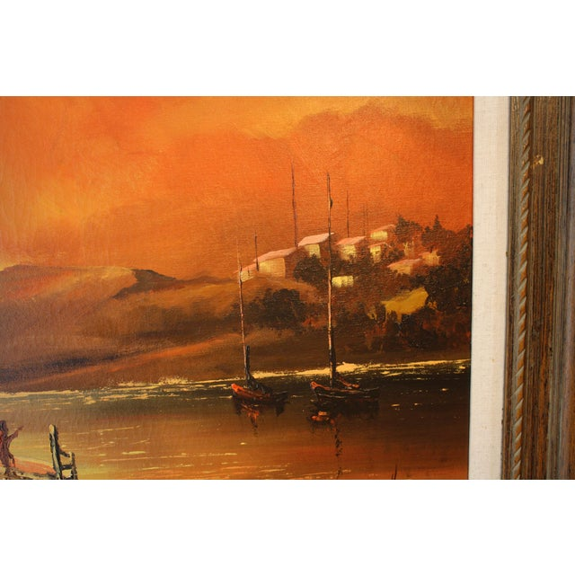 1970s Vintage Julio Carballosa Original Oil on Canvas Landscape Painting For Sale - Image 9 of 11