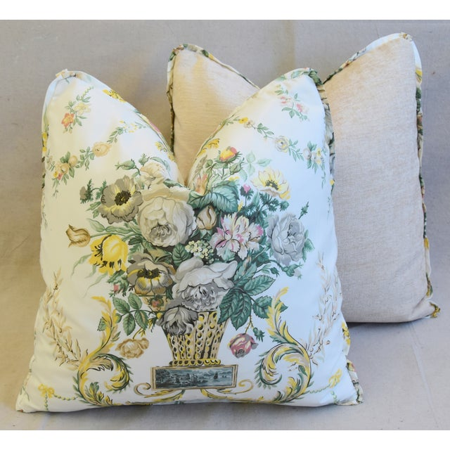 "Schumacher Floral Airlie Bouquet & Chenille Feather/Down Pillows 21"" Square - Pair For Sale - Image 11 of 13"