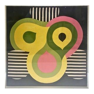 Modern Abstract Vintage Silk Scarf, New Custom Lucite Box Frame
