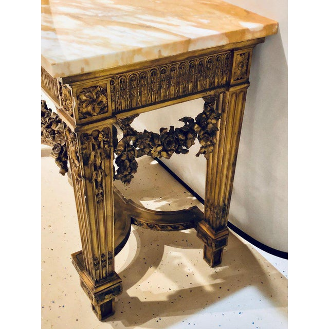 Giltwood Louis XV Style Giltwood Marble-Top Console, Hall or Center Table For Sale - Image 7 of 13