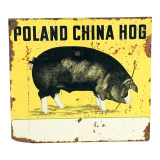 Large Vintage Porcelain Poland China Hog Sign For Sale