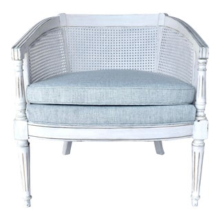 1960's Louis XVI Style Caned Barrel Back Chair For Sale