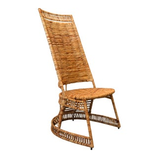 Vintage Entirely Hand-Woven Sculptural Cane & Rattan Side Chair With Rush Seat For Sale
