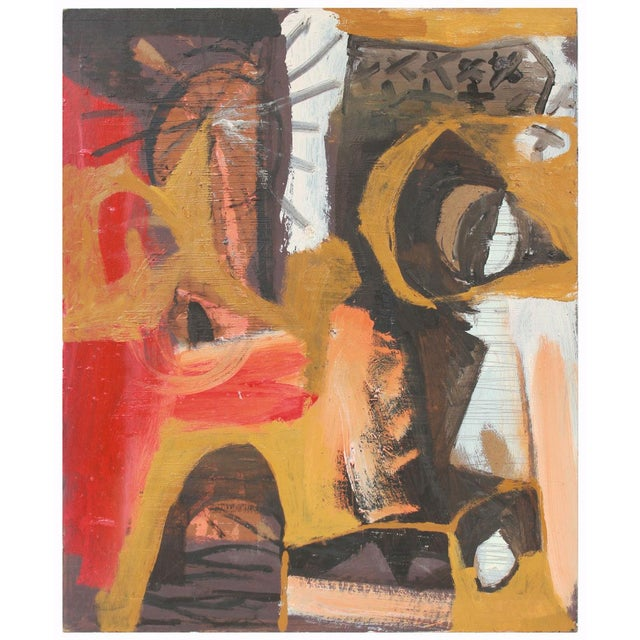 Abstract Late 1950s Modernist Abstract in Yellow, Red, Black and White Oil Painting For Sale - Image 3 of 3