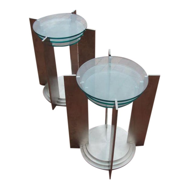 Art Deco Streamline Side Tables in Solid Steel - a Pair For Sale