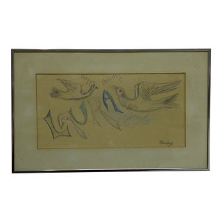 """Original """"Happy Holiday Laura"""" Framed and Matted Sketch / Drawing by Chaim Gross For Sale"""