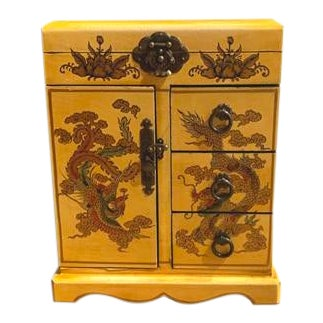 Wooden Yellow Jewelry Box For Sale